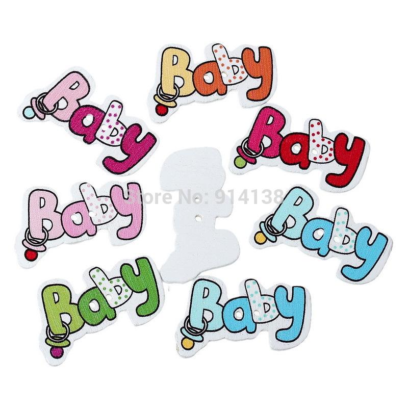 "Free Shipping 50 Random Mixed Wood Sewing Buttons Scrapbooking Print Cartoons ""Baby"" 2 Holes 3.6 x 2.2cm B01352(China (Mainland))"