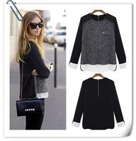 Resuli 2014 New Women Lady Warm Silm Knits Blends Tops Zip Side Knitwear Shirt Free shipping&Wholesale