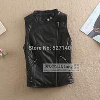 2014 Hitz Jacket Vest women washed leather slim collar locomotive Jacket/leather vest