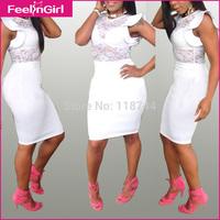 2015 Summer Women Dress White Midi bandage Street Dress Fashion Club Wear Vestido Sexy Pencil Bodycon Dress 3