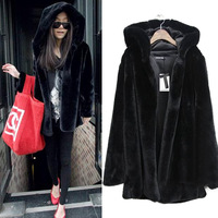 2014 autumn and winter fashion luxury imitation mink coat woman long sleeve hooded leather jacket long coat Hot grass