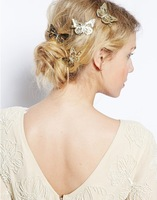 New Style Luxurious Butterfly Hair Jewelry Hair Pins Accessories Bling Bling Gold Plated 2Pcs/Set