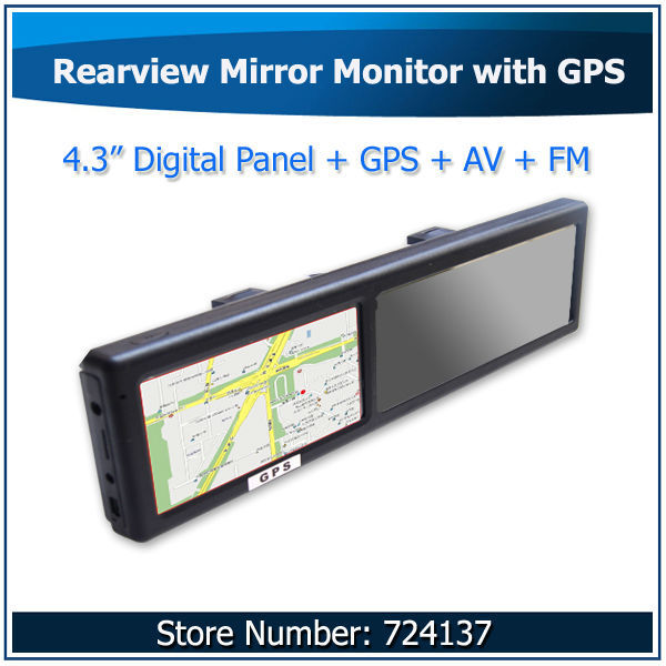 4.3inch Digital Panel with Touch Screen Car GPS Rearview Mirror GPS Navigator with Backup Camera Input Wholesale(China (Mainland))