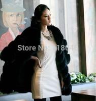 New winter warm high imitation thicken overcoat elegant women genuine fox fur coats jackets plus size black womens jacket