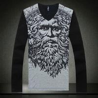 Free shipping plus size XXL XXXL 4xl 5xl 6xl 8xl Autumn winter european cotton peach long-sleeve T-shirt tshirt V-neck brand big