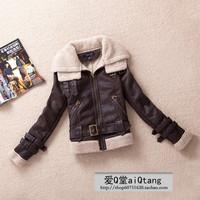 2014 autumn and winter Leather jacket female thickened lamb wool locomotive leather PU coat