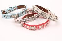 Free shipping new style Leather pet DOG collar bone plaid collar with bone diamond four colors 20pcs/lot