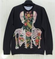 New 2014 spring female fashion stars sweatshirts womens Skeleton hoodies long-sleeve sweatshirt 3d plus size
