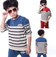 2pcs Baby Boys Striped Clothing Set New 2014 Spring Autumn Winter Long Sleeve T-shirts+pants Kids Clothes Sets conjunto de roupa