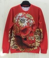 2014 Fashion hot-selling class service women's 3d red skull head flowers pattern trend personality sweatshirt loose