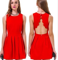 vestidos 2014 women dress sexy dance parties mounted red sleeveless casual dress pleated halter party dresses scallops