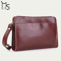 2014 Zipper Handbags Selling Solid Handbag Men's Day Clutches 100% Genuine Leather Bag for Men Grade Crazy Horsehide 2015 New