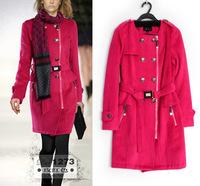 2014 Women's Hot Slim waist long section of the big fashion woolen coat coat temperament