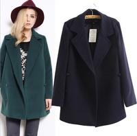 Hot selling  2014 new fashion cute women autumn new British style suit collar slim retro wool coat