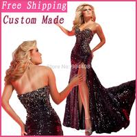 Zuhair Murad 2014 Real New Sexy Beaded Sheath Transparent Side Slit Sleeveless Sweetheart Evening Celebrity Dress SH228