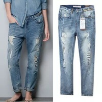 2014 autumn washing the old worn-out jeans hole loose baggy jeans pants