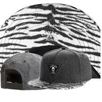 2014 new gray wool hat Zebra stripes brim adjustable baseball snapback hats & caps for men/women fashion brand hip hop sun cap
