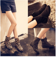 2014 new boots leopard print Low heel shoes round head fashion women Martin boots st9