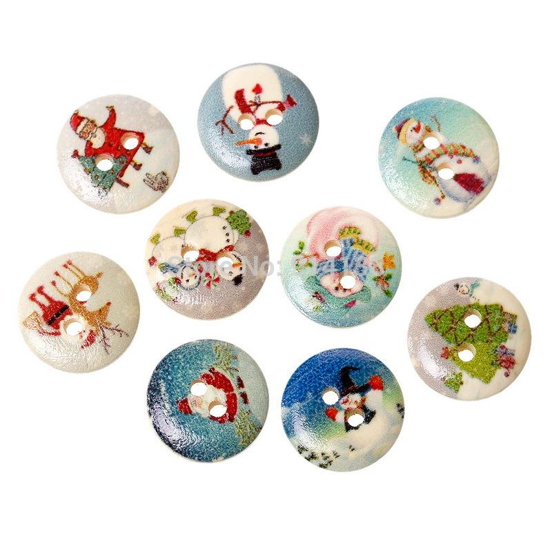 Free Shipping 100 Random Mixed Wood Sewing Buttons Scrapbooking Round Print Christmas 2 Holes 15mm Dia. B01393(China (Mainland))