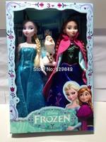 Stock!! 2014 Hot Sale Frozen Girls Dolls 11 inches Frozen Queen Elsa Princess Anna Platic Doll 2pcs/LOT Frozen dolls With Box