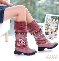 Fashion Mid Calf Snow Boots Suede Low Heel Platforms Furry Warm Winter Women Boot Woman's Fur Warm Shoes Vintage Botas Brand AE