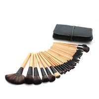 stock clearance 32pcs no logo makeup brushes professional cosmetic make up brush set the best quality wooden colour CZ030