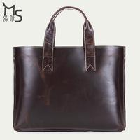 Unisex Portable briefcase 15-inch laptop bag for men 100% Genuine leather bag for women concise generous handbag 2015 New