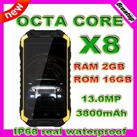 100% Original real 8 Octa core X8 IP68 Waterproof Mobile phone MTK6592 RAM2GB+16GB 13.0MP 3800mAh GSM+WCDMA rock v5 snopow m8