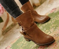 Shoes 2014 Women Motorcycle Boots Buckle Strap Flat Boot Velvet Booties Ankle Shoe For Woman Fall Flats Ladies Leather Botas HD
