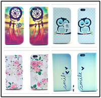 """For Iphone 6 Plus 5.5"""" High quality flower cartoon owl design Magnetic Holster Flip Leather phone Case Cover Skin D1361-E"""