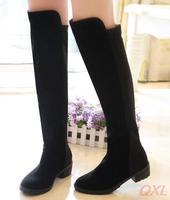Woman Boots Knee High Boot Black Women Flat Shoes Winter Platform Designer Booties Botas 2014 Lady Snow Shoe seven seas sale HD