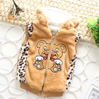 Free Shipping Fashion Brand Child Outerwear Winter Cute Cartoon Leopard  Lions Woolen  Children's Vest Baby Waistcoat  XHZ006