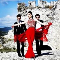 WLF113 Chiffon Skirt Red Prom Dresses Long Evening Dress Fully Bodice Beaded Vestidos de noiva
