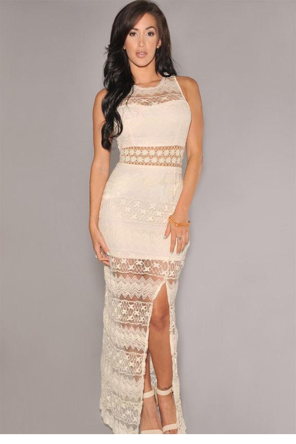Cream Lace Long Dresses