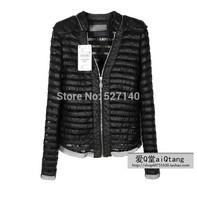 2014 autumn and winter the new collar lace stripe mosaic Pu lace shrug bubble sleeve jacket fur coat big code