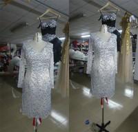 WLF114 Short Prom Dresses Long Sleeves Colorful Crystals Real Sample Evening Dresses Vintage vestidos de noite