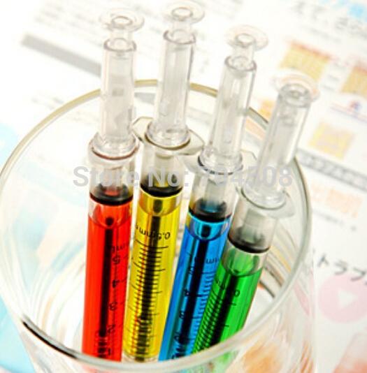 FD477 Novelty Creative SYRINGE Ball Pen Ballpoint Gel Pen Gift ~Random Color pen~ 1PC(China (Mainland))