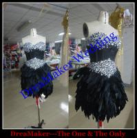 WLF115 Short Evening Dress Alibaba Crystal Beaded Short Black Feather Prom Dresses China 2015