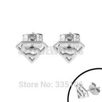 Enamel Silver Superman Earring Body Piercing Stainless Steel Jewelry Trendy Motor Biker Earring Studs SJE370113