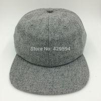 New Arrival  blank heather grey wool polo hat 6 panel warm winter hat hip hop baseball cap custom headwear snapback cap