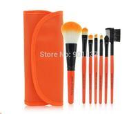 low-cost sales makeup tools 7pcs free your hand makeup brush set,professional soft hair makeup brushes orange colour CZ010