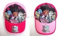 6pcs/lot NEW THE Monsters High hat boy girls Kids fashion summer cap visor sun hat kids baseball cap children accessories