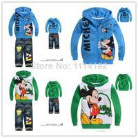 free shipping Baby boy children hoodies+jeans 2pcs clothing set,cotton roupas infantil kids clothes sets,conjunto de roupa