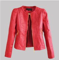 New  motorcycle jacket women 2014 autumn new round neck short paragraph motorcycle leather jacket