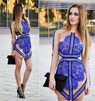 2014 Women Autumn Sexy Clothing Fashion Party High Street Blue Long Sleeve Contrast Eyelash Lace Mesh Bandage Work Wear Dress