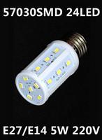 Free shipping 2014 Ultrabright SMD 5730 AC 220V 5W E27/E14 24leds corn light LED lamp white/warm white saving light NO Cover