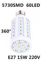 2014 Ultrabright AC 220V E27 15W 5730 SMD 60 Led Corn Bulb Lamp Energy Saving Light 360 Degree White/Warm White Led light