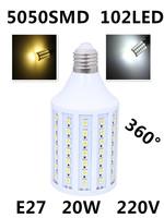 Wholesale Ultrabright HOT E27 5050 SMD 102LED Lamps AC 220V Corn Bulb LED Light White/ Warm White LED Energy Saving Lamp