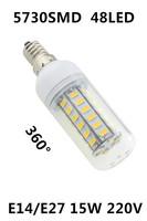 2014 Ultrabright 5730 SMD E27/E14 LED Lamp 15W 48pcs LED Light  Warm White/ White Corn Bulb Lights AC 220V with Cover