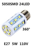 Free Shipping 2014 hot sale 5050 SMD E27 AC (110V-220V) 24LEDs  Corn Bulb led Light  House Energy Saving lamps